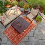 flagstone patio with furniture