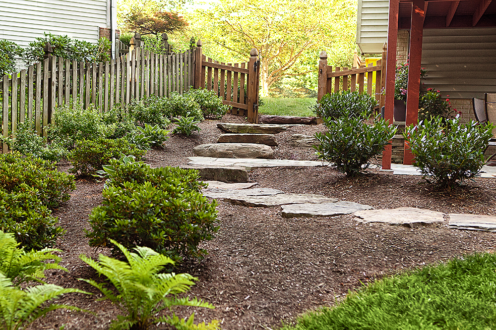walkway through landscaped yard