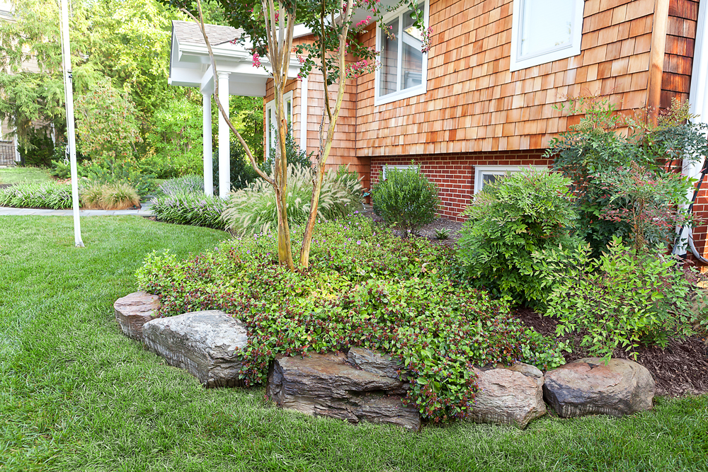 home front planting with boulder edging